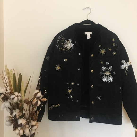 H&M Jackets & Blazers - Celestial Embriodered Jacket (Faux Fur interior)